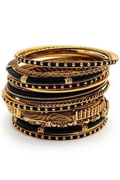 Black and gold bangles