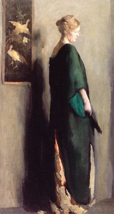 Woman in a Green Kimono Beatrice Whitney Van Ness (American, Oil on canvas. Van Ness' works range from her sensuously modeled single figures of the middle and late teens to the brilliantly toned family groups painted at Bartlett's. Woman Painting, Figure Painting, Portrait Art, Portraits, Photografy Art, Art Japonais, New Blue, Western Art, Beautiful Paintings