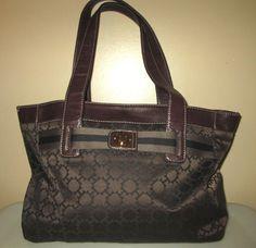 Tommy Hilfiger Large Brown Jacquard Tote Shopping Bag Handbag NWOT #TommyHilfiger #TotesShoppers