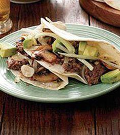 Beef-and-Mushroom Tacos with Avocado Salad