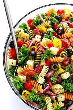 This Rainbow Antipasto Pasta Salad is the perfect way to use up leftover antipasto ingredients! Plus, it's easy to make. Great recipe for a birthday and more! dinner ideas for him recipes Rainbow Antipasto Pasta Salad Easy Pasta Salad Recipe, Healthy Recipes, Healthy Salad Recipes, Pasta Recipes, Great Recipes, Soup Recipes, Vegetarian Salad, Vegetarian Italian, Ravioli Recipe