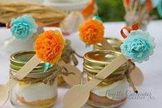 Love the tissue poms on the end of these spoons at a Spanish Beach Party via Kara's Party Ideas | Kara'sPartyIdeas.com