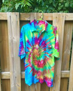 Tie Dye Button Up Pocket Shirt Mens Womens Psychedelic Trippy Hippie Boho Beach Festival Clothing
