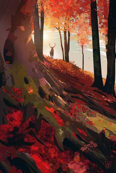 ArtStation - Dawn, Célia Beauduc - just everything - Kunst Concept Art Landscape, Landscape Drawings, Fantasy Landscape, Landscape Art, Fantasy Art, Landscape Design, Art Environnemental, Arte Sketchbook, Forest Landscape