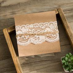 rustikale Kraftpapier Hochzeitskarten mit Spitze KPL205