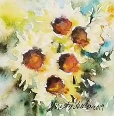 """Soakin' In The Warmth of Sun"" 4""x4"" Original watercolor artwork – Christy Sheeler Art.  Luminous sunflowers glow in the sunlight with fresh and soft handling of the brush.  Gentle addition of turquoise and green hug the flower petals on all sides.  Montana watercolor artist Christy Sheeler.  Pin now and shop later!"