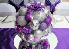 Christmas table decor - because we all know how much I love purple and silvers/greys