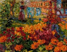 Flower Garden (Girl and Washing), 1908, Emil Nolde. German Expressionist Painter (1867 - 1956)