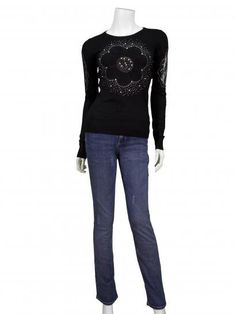 Pullover mit Spitze, schwarz | Memory & Co