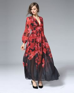 Shop Red Long Sleeve Deep V-neck Floral Print Chiffon Maxi Dress. VIPme.com offers quality Red, FeiHua. LIAN Swing Dresses at affordable prices.