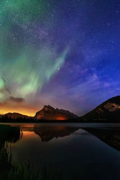 ponderation:  Couple by Richard_ Mark  Northern Lights and Milkyway at Vermilion Lakes Banff National Park.
