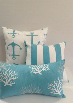 """Coastal Blue Waters Coral Anchor Stripes Pillow Set of 3/Aqua Beach Nautical Ocean Pillow Covers READY TO SHIP 18"""" x 18""""/16"""" x 16""""/11""""x 18"""" by AggieRay on Etsy https://www.etsy.com/listing/227185445/coastal-blue-waters-coral-anchor-stripes"""