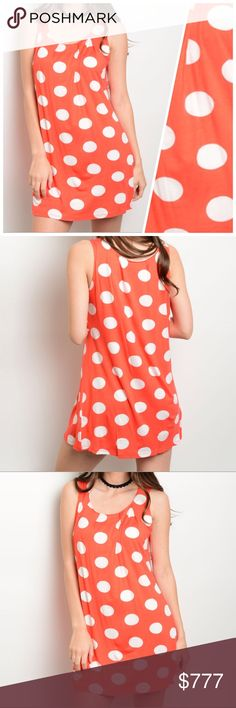 COMING SOON Orange White Dots Dress Very cute dress for going out on a casual affair. 96% rayon 4% spandex. Made in the USA. Check out my other items for a bundle discount. PRICE FIRM UNLESS BUNDLED!!! Dresses Midi