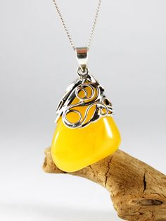 Unique Beautiful Natural Baltic Amber Pendant With by AmberAndMore