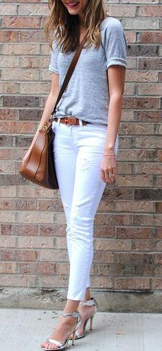 White Denim & Plain Tee - Find similar trends at MODE