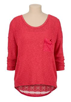 Teaberry Lace Stripe back pullover hacci top (original price, $29) available at #Maurices