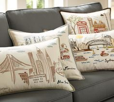 New York City Embroidered Lumbar Pillow Cover | Pottery Barn