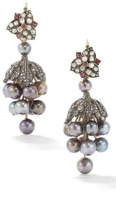 natural pearl ruby and diamond ear pendants