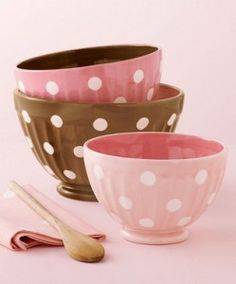 pink and brown polka dot bowls