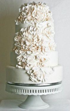 All white wedding cake