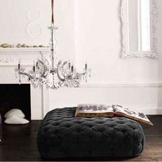 Velvet ottoman in charcoal from Brocade. The idea of an ottoman in a dressing room is my favorite. Decor, Ottoman, Furnishings, Velvet Furniture, Tufted Furniture, Velvet Ottoman, House Design, Furniture, Home Decor