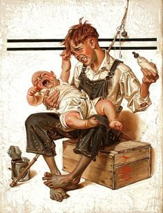 'The Babysitter, The Saturday Evening Post Cover, August 25, 1923' by Joseph Christian Leyendecker (1874-1951) : Original Oil on Canvas