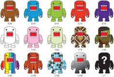 While at Toy Fair we saw the new DOMO x Qee – So I thought that I would just post a picture and the run down of the ones included in this series.  Also if you look closely our picture shows the chase DOMO!!