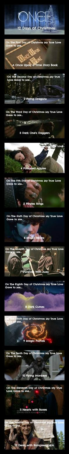 Once upon a time 12 days of Christmas - ouat christmas - ouat - once upon a time - christmas- emma swan - killian jones - show white - rumplestiltskin #onceuponatime #ouat #Christmas #12daysofchristmas #ouatchristmas