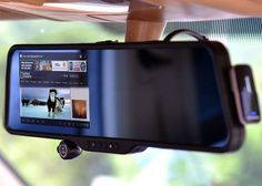 This Android Powered Rear View Mirror Sports a 5-inch Touchscreen, DVR Camera, Bluetooth Headset Dock & More