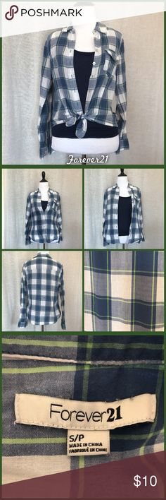 Blue Plaid Button Up Use small blue button up in good pre-loved condition, from Forever21 Forever 21 Tops Button Down Shirts