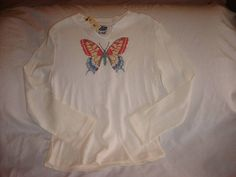RAINFOREST CAFE Youth Girls Colorful Embroidered Butterfly LS Shirt MEDIUM NWT #RainforestCafe #Everyday