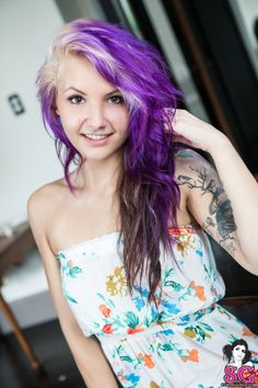 Circa Suicide is so pretty with purple hair and that flowery outfit.  http://suicidegirls.com/join
