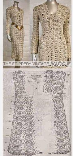 Patrones para tejer con ganchillo vestido dorado de mangas largas con reminscencias vintage