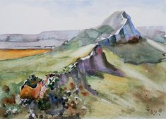 Pic st Loup (Painting), cm by Guy ROSSEY The mountain of Pic st Loup and the ruines of the Montferrand castle. A highlight of the countryside close to Montpellier, France . Montpellier, Pic Saint Loup, Fine Art Prints, Canvas Prints, Art Original, Oeuvre D'art, Online Art, France, Art Gallery
