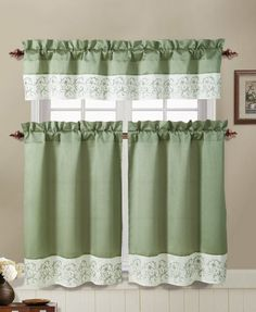 Sage Green and Ivory Embroidered Kitchen Window Curtain Set : 2 Tier Panel Curtain, 1 Valance Ella,http://www.amazon.com/dp/B00EGP24OK/ref=cm_sw_r_pi_dp_dFMGsb1ZVPMBCH5B