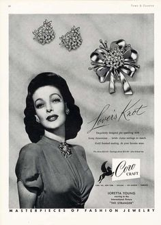Coro Craft Costume Jewelry Ad 1946 Loretta Young | eBay