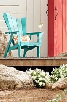 Throw your guests a curve, with the asymmetrical silhouette of our Funky Adirondack Chair and Ottoman, and have them sitting up and taking notice.
