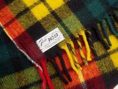 vintage+camp+blanket | vintage Faribo wool camp blanket throw, gold red green plaid wool ...