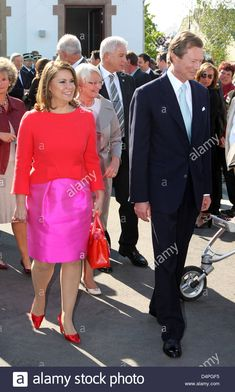 Stock Photo - Grand Duke Henri (R) and Grand Duchess Maria Teresa of Luxembourg (L) attend the festivities of the National Day of Luxembourg in Ell, Luxembourg, 22 June Photo: Albert Grand Duke, Stock Foto, Junho, Day, Image, The Netherlands, Festivals, Luxembourg, Duke