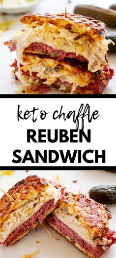 Keto Reuben Sandwich – Low Carb – Gluten Free -Kicking Carbs Eating low carb and craving a sandwich? You are going to go wild for this delicious Keto Reuben Chaffle! Quite simply the BEST sandwich ever. Reuben Sandwich, Sandwich Bar, Best Sandwich, Sandwich Recipes, Deli Sandwiches, Sandwich Ideas, Healthy Sandwiches, Ketogenic Recipes, Diet Recipes