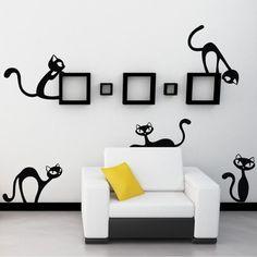 Samolepka na stěnu Velké nezbedné kočky, černá | Bonami