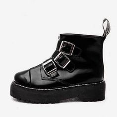 d9d919fc46c4 Buckle Strap Punk Ankle Boots Platform Shoes ~ SHOP BOOTS ON SALE in ...