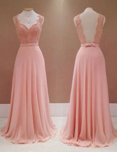 Fashion V-neck Lace Appliques Long Pink Backless Bridesmaid Dress,pink bridesmaid dresses,chiffon bridesmaid dresses,bridesmaid dress 2016