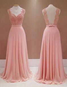 Fashion V-neck Lace Appliques Long Pink Backless Bridesmaid Dress,pink bridesmaid dresses,chiffon bridesmaid dresses,bridesmaid dress 2016