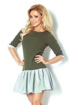 86-3 Zielona sukienka z szarą spódniczką - 10254