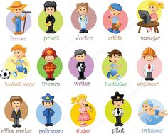 Illustration of Cartoon characters of different professions vector art, clipart and stock vectors. English Grammar For Kids, Learning English For Kids, English Vocabulary, Flashcards For Kids, Worksheets For Kids, Art Design, Design Elements, Graphic Design, Illustrator Ai