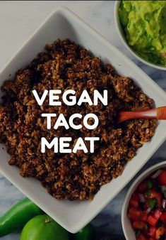 """Vegan and Oil Free taco """"meat"""" so genial einfach und super lecker! Plant Based Recipes, Veggie Recipes, Mexican Food Recipes, Whole Food Recipes, Vegetarian Recipes, Cooking Recipes, Healthy Recipes, Vegetarian Tacos, Vegan Foods"""