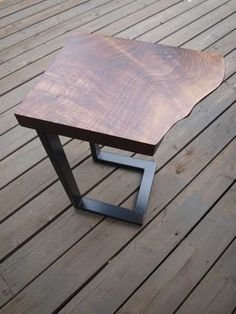 Custom Made Live Edge Walnut & Steel End Table