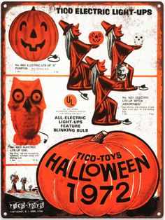 Details about 1972 Tico Halloween Blow mold Witch Owl Mancave Metal Sign Repro 60314 - - Vintage Halloween Images, Retro Halloween, Vintage Halloween Decorations, Halloween Items, Halloween Signs, Halloween Horror, Vintage Holiday, Holidays Halloween, Halloween Treats