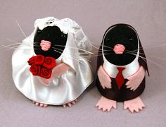 Wedding Cake Topper ornament cute felt bride von TheHouseOfMouse, $70,00